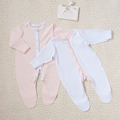 Комплект комбинезонов-слипов «Розовый и белый», 2 шт.